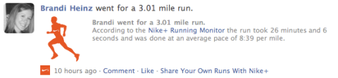 Nike+ update on Facebook